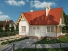 Проект экономного дома с цоколем, гаражом и мансардой
